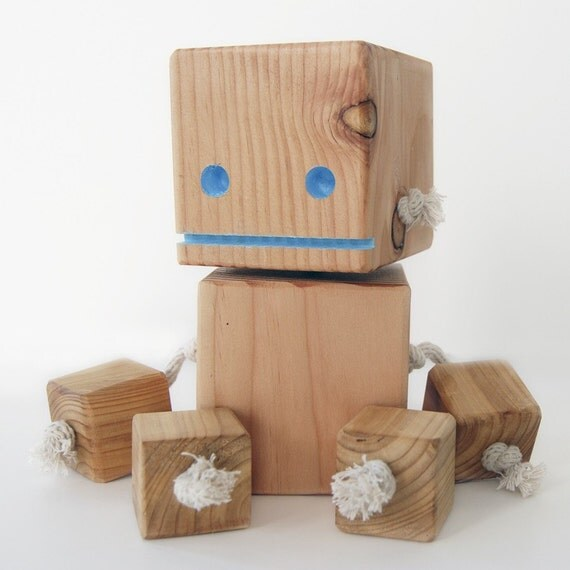 Items similar to block bot a robot made from reclaimed for Large wooden blocks for crafts