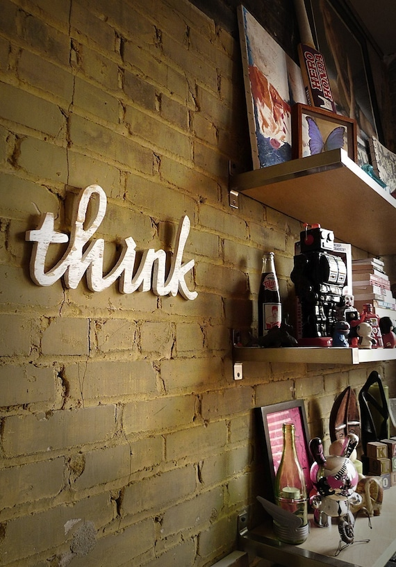 think script handmade wood sign - wall decoration for vintage or modern decor