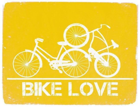 BIKE LOVE - 11x14 Poster Print - ANY COLOR
