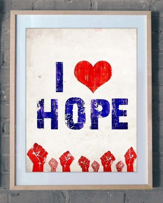 SALE - I Heart HOPE - 8x10 Obama Poster Print