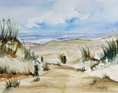 Beachscape Sand Dunes Sky Ocean Original Watercolor Painting Matted 16x20 inches