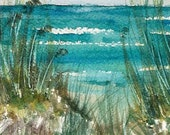 Original Watercolor Painting Art Beachscape Sand Dunes 8x10 matted