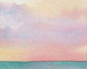 Original Watercolor Painting Seascape Beach 8x10 matted