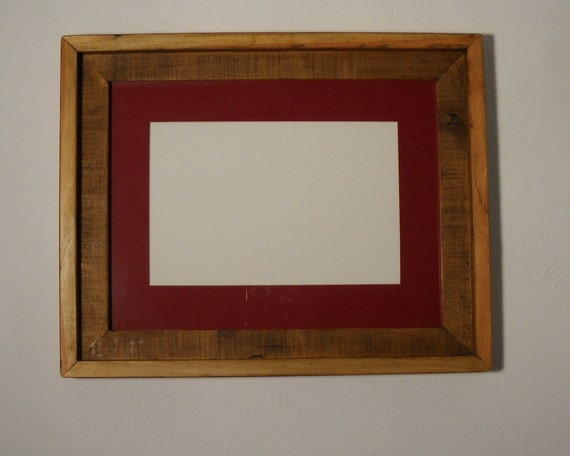 Eco Chic Reclaimed Wood Picture Frame 12x16 With 9x12 Red Mat