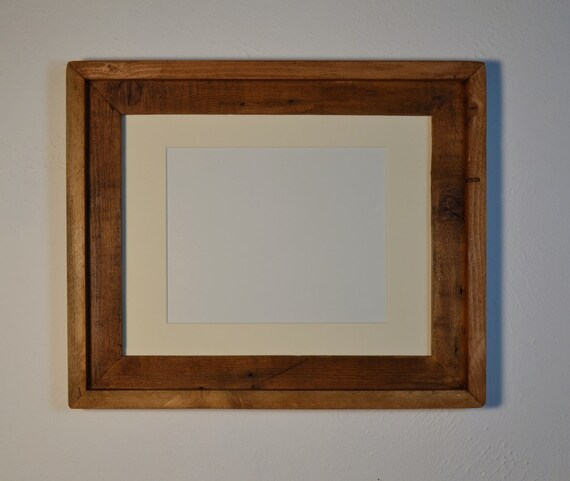 Reclaimed Wood Picture Frame 11x14 With 8x10 Off White Mat