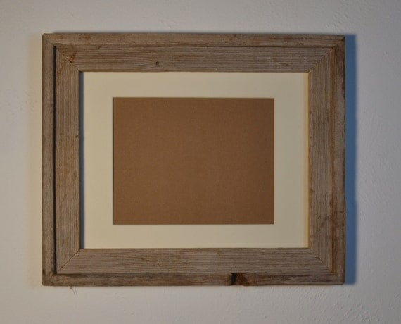 Photo frame reclaimed barnwood 11x14 with an  8x10 off white mat  glass backing included