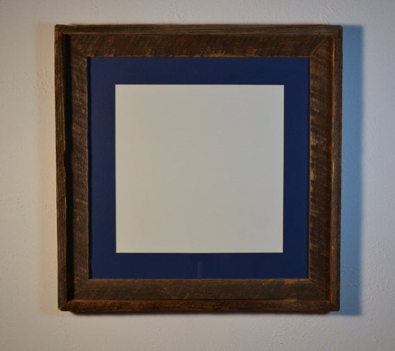 Recycled wood photo frame 16x16 with 12x12 blue mat weathered dark gray and brown patina