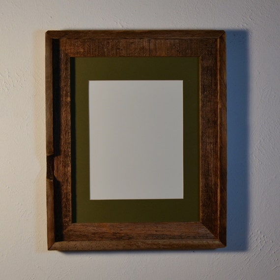 Reclaimed barn wood frame 11x14 with an  8x10  green mat glass backing great knot hole