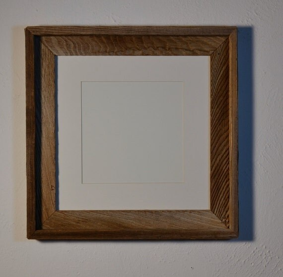 Barnwood frame 12x12 with white mat for 8x8 photo beautiful patina with nice grain lines