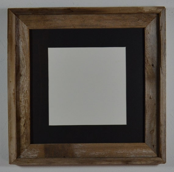 Naturally Weathered Barn Wood Frame 12x12 Black Mat 8x8
