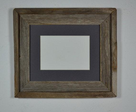 Barn wood  frame 8x10 with dark gray mat for 5x7 photo, great natural patina