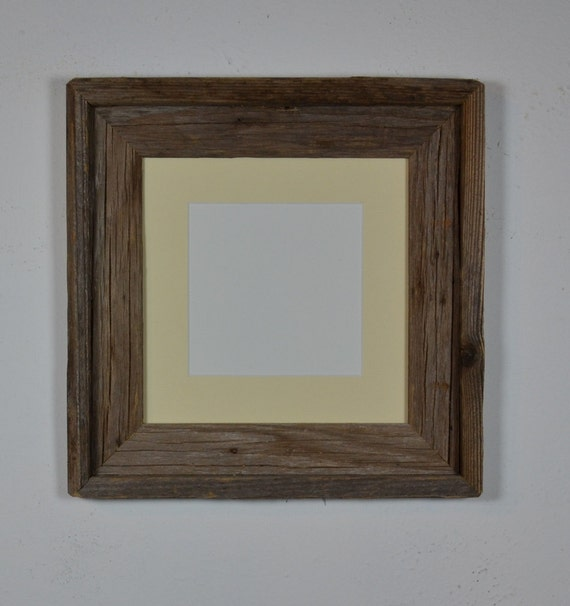 8x8 reclaimed barn wood  photo frame with off white cream 5x5 mat