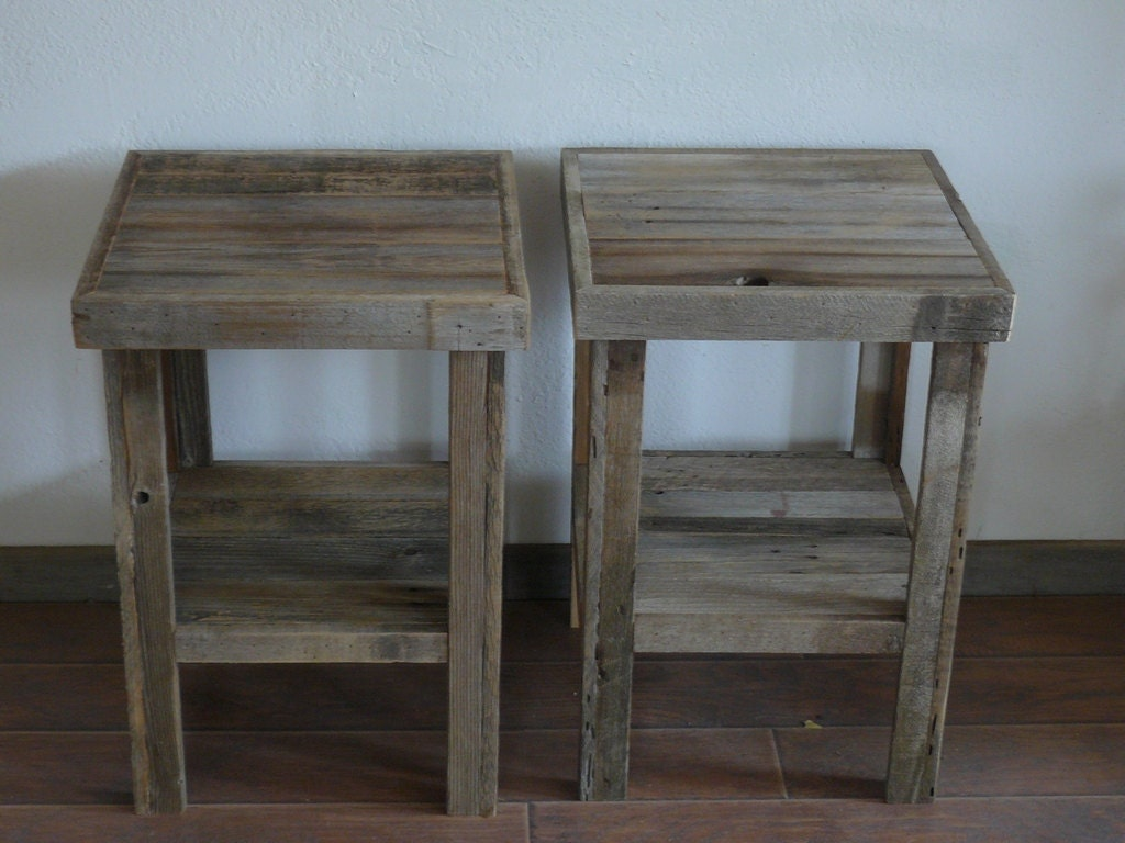 Eco Chic Barnwood Wood End Table Or Night Stand Pair