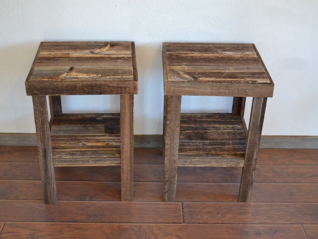 Eco friendly barnwood wood end table or night stand pair Furniture made from barn wood