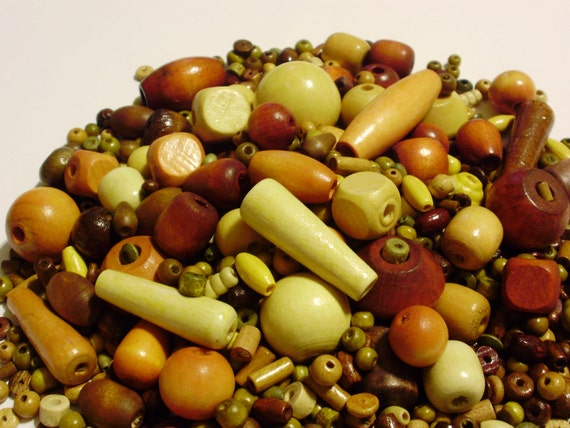 8 OUNCES of Miscellaneous Wooden Beads -for craft jewelry making kandi bracelets-
