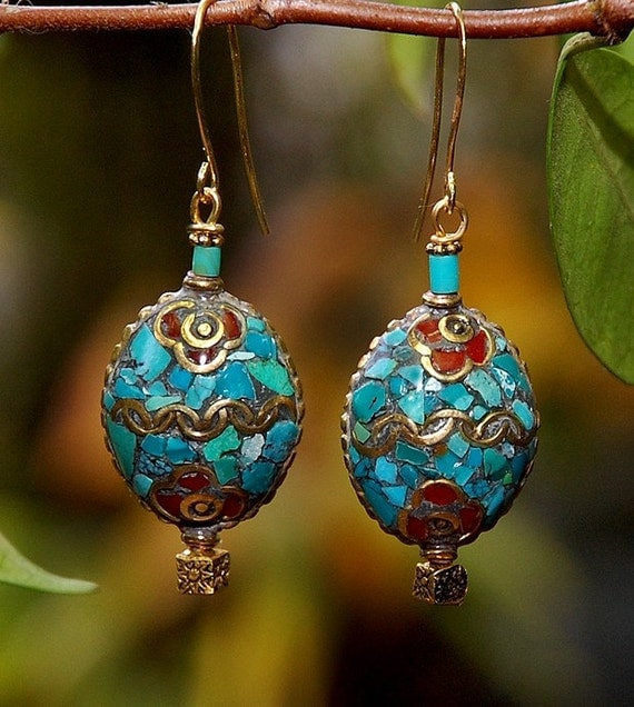 Stepping Stone- turquoise and coral mosaic earrings-tibet - free holiday shipping