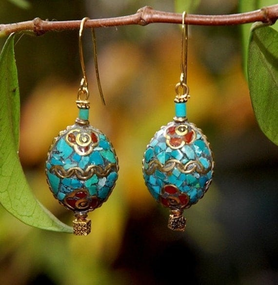 Stepping Stone - turquoise earrings