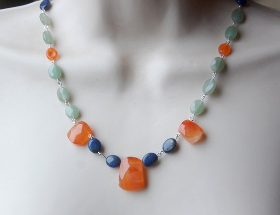 Green Tea Necklace - green aventurine, orange carnelian, lapis lazuli