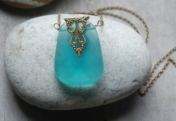 Caribbean Blue Necklace Earrings SET - Chalcedony, pendant, turquoise blue, baroque, sea
