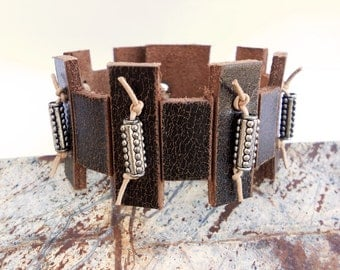 Hand Carved Zen Inspired Leather Cuff Bracelet, Handmade Leather Jewelry, Leather Accessories for Women