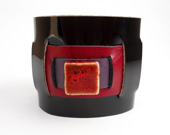 Chunky Patent Leather Cuff Bracelet in Red, Purple & Black, Handmade Leather Jewelry, Women's Leather Accessories