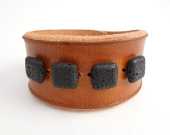 Rawhide Leather Bracelet with Black Lava Stone Beads, Leather Jewelry, Leather Accessories for Women