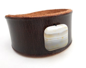 Women's Rawhide Leather Cuff Bracelet with White Agate Bead, Handmade Leather Jewelry, Unique Leather Accessories