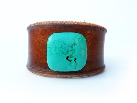 Leather Wristband - Turquoise