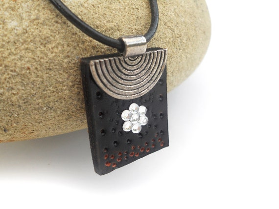 Black Leather Necklace, Rhinestone Detail, Women's Leather Jewelry