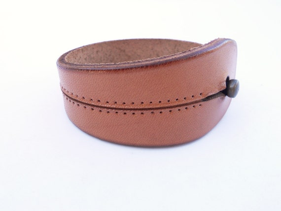 Leather Cuff, Rawhide Hand Carved Leather Jewelry