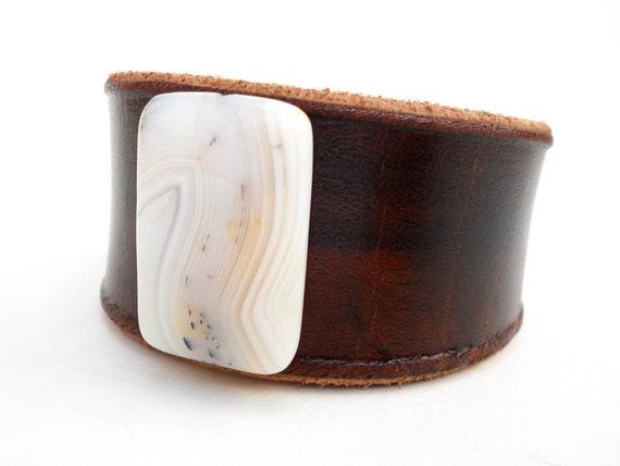 Leather Cuff, Dark Brown Leather Wristband, White Carnelian Stone Bead