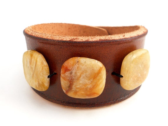 Brown Leather Cuff Bracelet with Honey Colored Jade Stone Beads, Handmade Leather Jewelry, Women's Leather Accessories