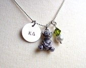 KAPPA DELTA KD Handstamped Silver Charm Necklace with White Freshwater Pearl, Olive Swarovski Crystals, Silver Plated Teddy Bear Charm