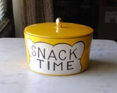 "RARE...Four Yellow ""Snack Time"" Nesting Bowls/Canisters...Stack Into An Adorable Chef."
