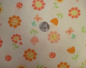 Peach floral on white cotton rib knit fabric 1 YD