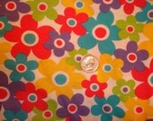 NEW Bright colorful flowers on white cotton jersey knit fabric 1 YD