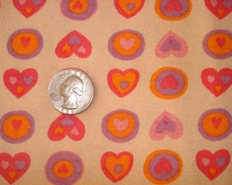 Flowers and Hearts on Cotton Rib Knit Fabric 1 YD