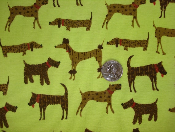 NEW beautiful show dogs on lime cotton rib knit fabric 1 YD