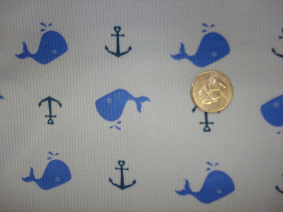NEW royal blue whales and anchors  on cotton rib knit fabric 1 YD