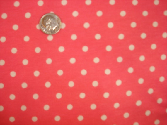 White polka dots on hot pink jersey knit fabric fabric 1 YD