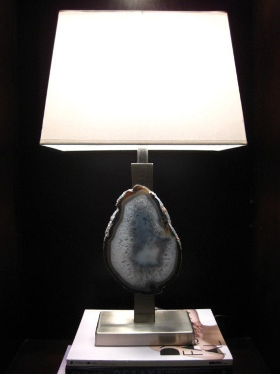 Large Modern Agate Geode Brushed Nickel Lamp