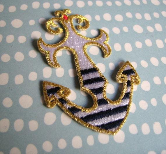 Breton Striped Anchor Iron-On Patch