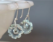 Pale Icy Blue Artisan Lampwork and Fine Sterling Earrings Gift Under 25