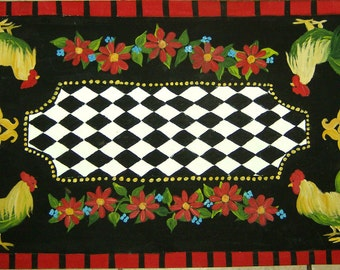 FLOORCLOTH  French Country  painted canvas rug  ROOSTER