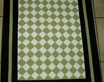 Sage Green and Black FLOORCLOTH / French Country / Painted Canvas Rug / Diamond Pattern / 4'x6'