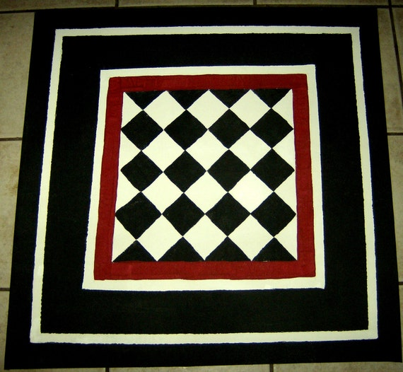 """FLOORCLOTH    French Country Primitive  hand crafted rug  56""""x56"""""""
