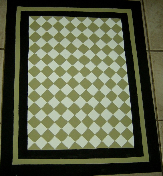 Painted Kitchen Floor Cloth: Sage Green And Black FLOORCLOTH / French Country / Painted