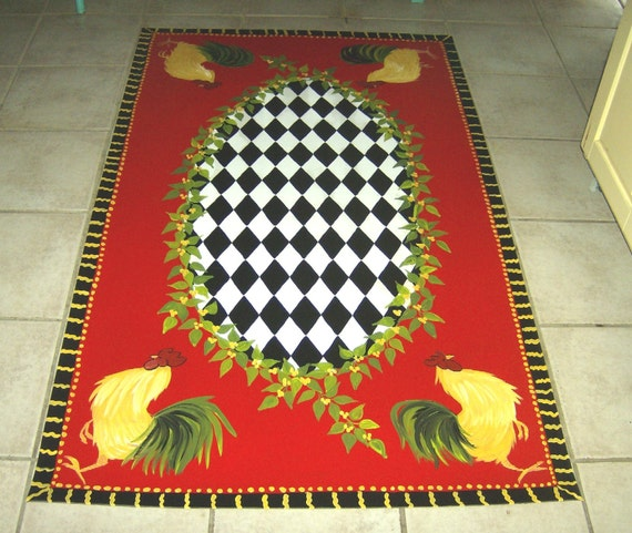 French Country Rooster Floorcloth Red Black And White