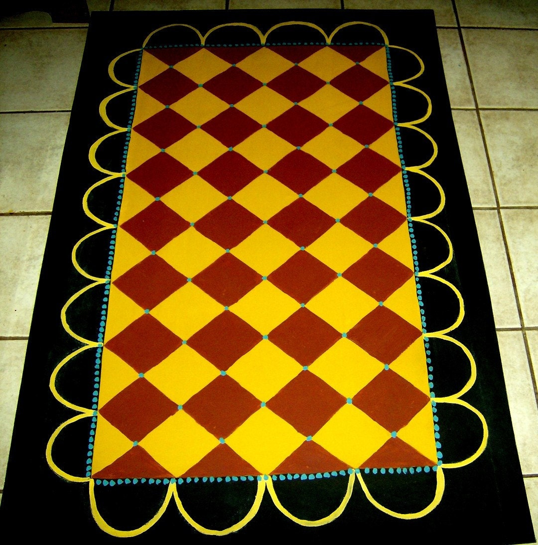 Washable Primitive Rugs: FLOORCLOTH Country Primitive Decor Hand Painted Rug