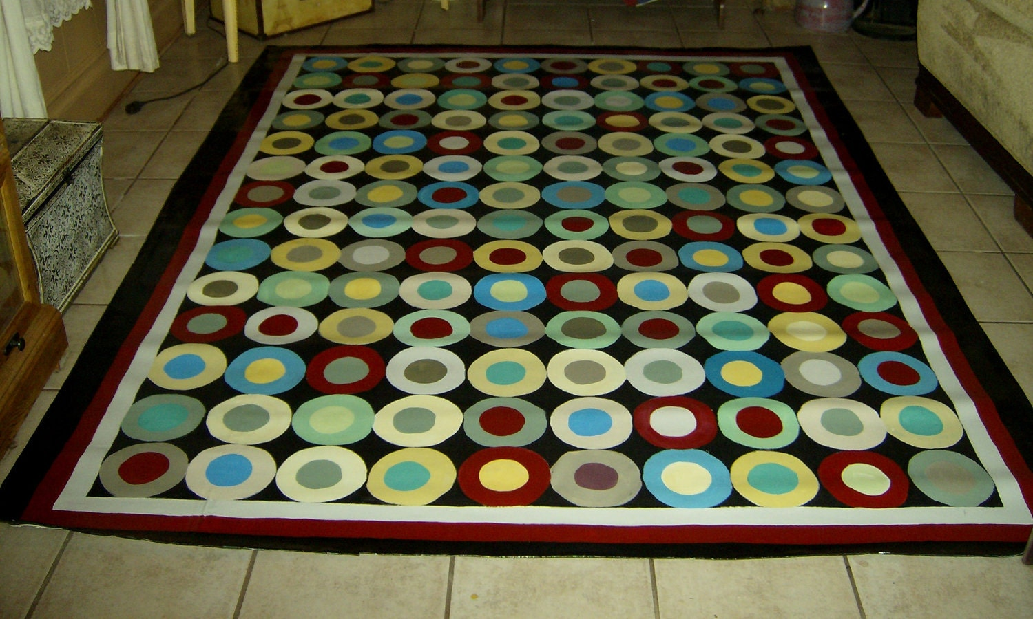 Floorcloth Buttons Hand Painted Canvas Rug Country